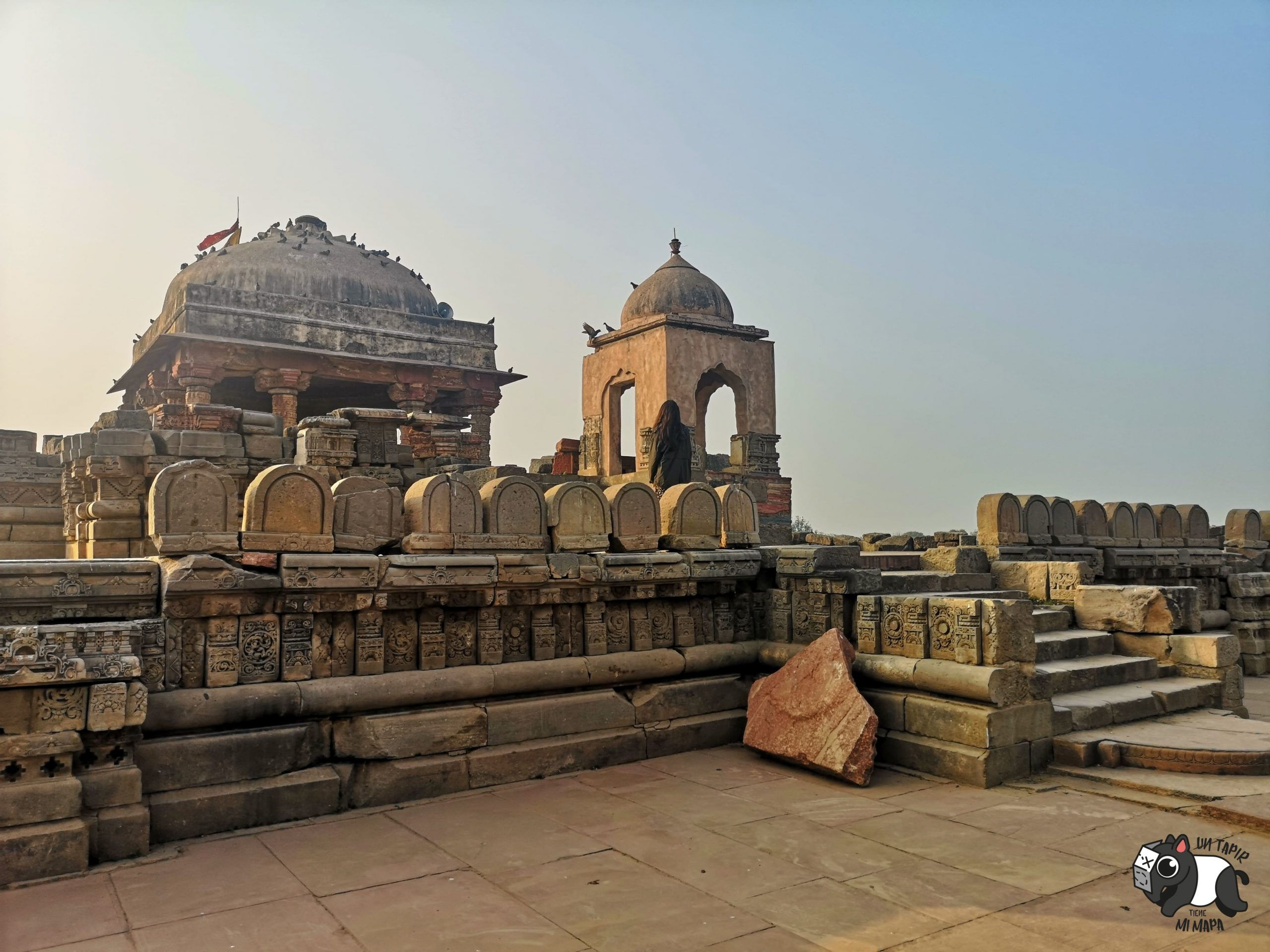 Harshat Mata Temple. Pequeño templo de piedra con grabados.